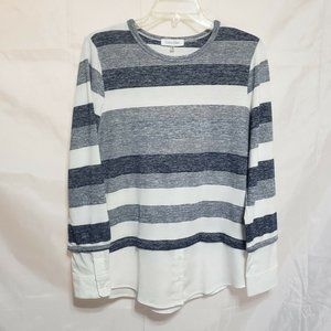 Calvin Klein Knit Sweater Top Exposed Cuff Hem Med